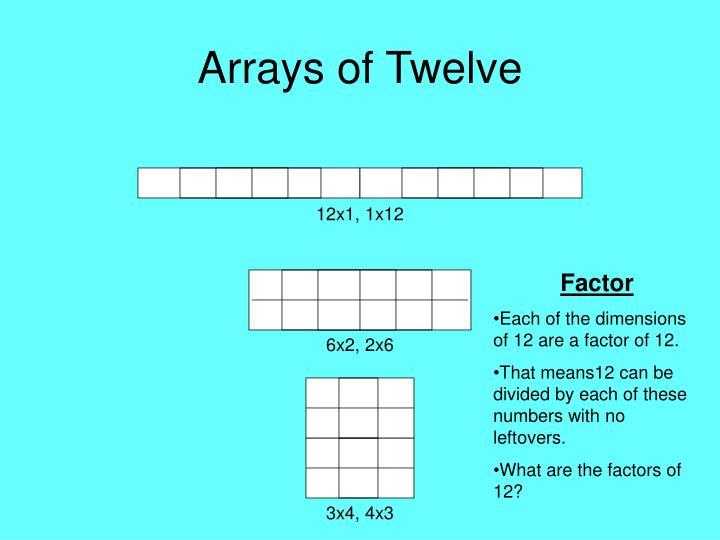 Arrays of Twelve