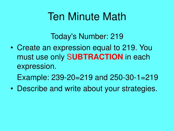 Ten Minute Math