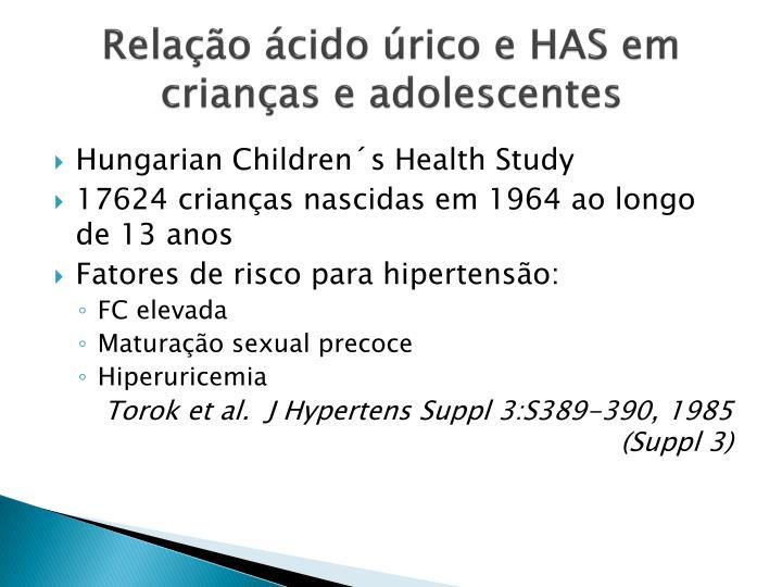 Relação ácido úrico e HAS em crianças e adolescentes