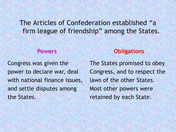 """The Articles of Confederation established """"a firm league of friendship"""" among the States."""