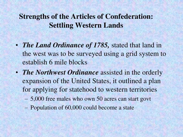 Strengths of the Articles of Confederation: Settling Western Lands
