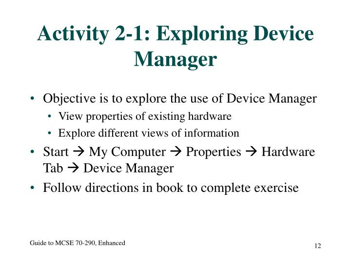 Activity 2-1: Exploring Device Manager