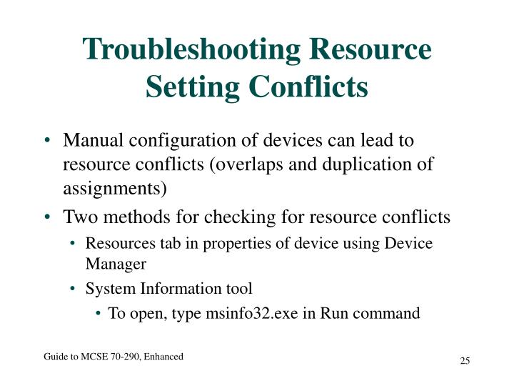 Troubleshooting Resource Setting Conflicts