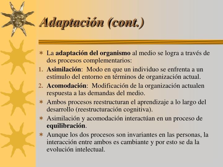 Adaptación (cont.)