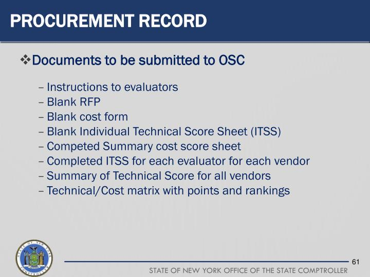 Procurement Record