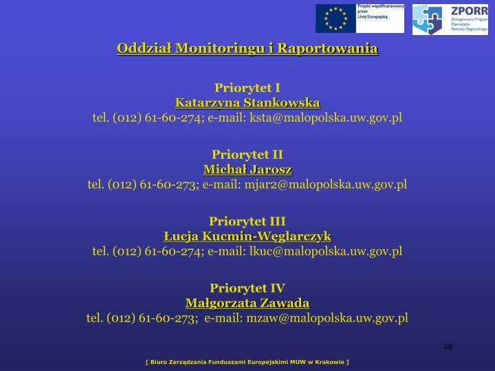 Oddzia Monitoringu i Raportowania