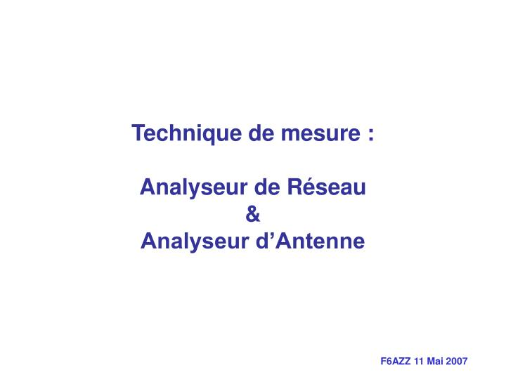 Technique de mesure :