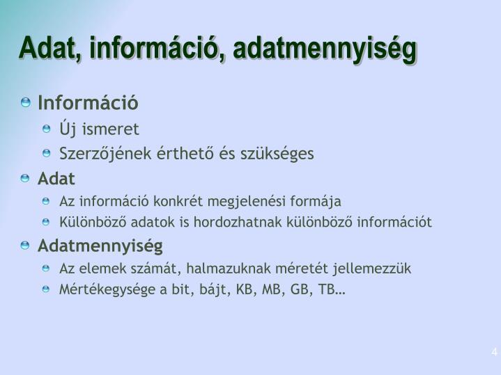 Adat, információ,