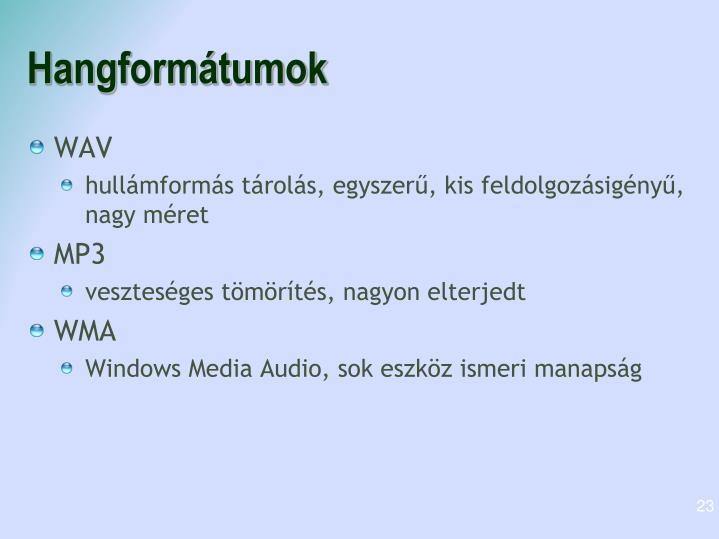 Hangformátumok