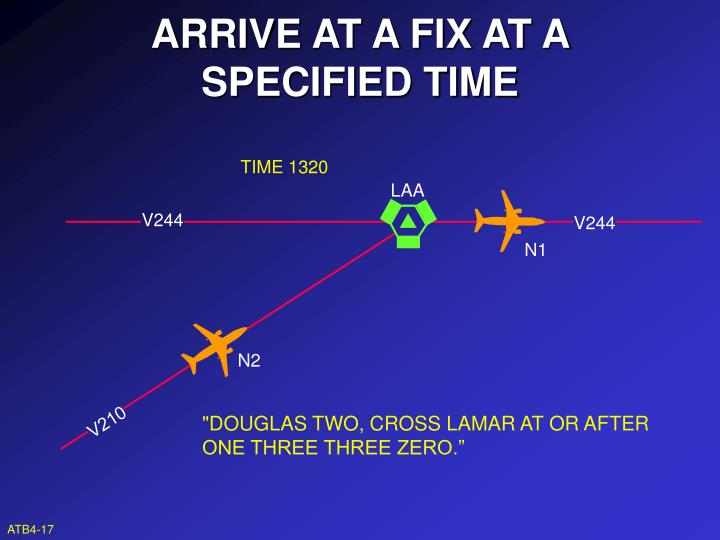 ARRIVE AT A FIX AT A SPECIFIED TIME