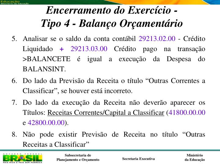 Encerramento do Exercício -