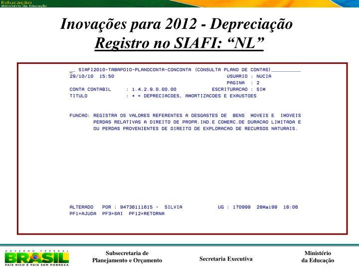 Inovações para 2012 - Depreciação