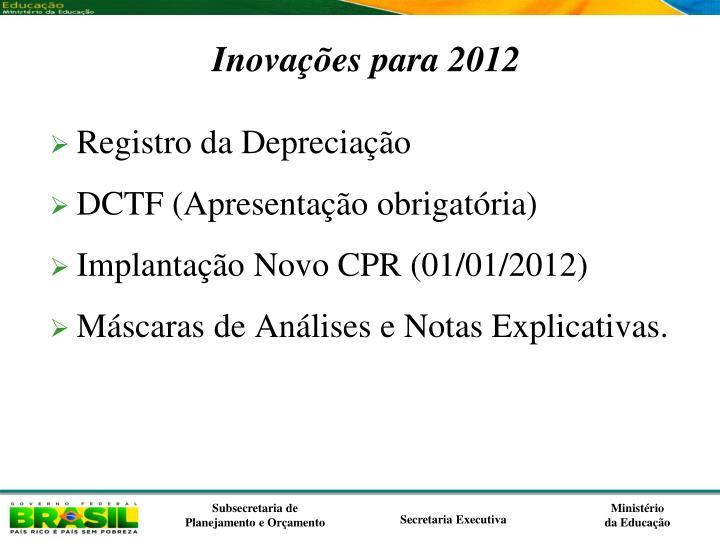 Inovações para 2012