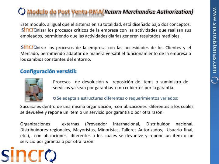 Modulo de Post Venta-RMA(