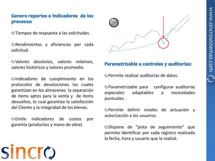 Genera reportes e indicadores  de los procesos: