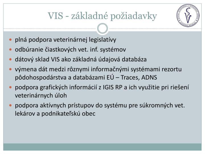 VIS - základné požiadavky