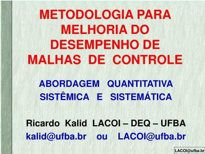 METODOLOGIA PARA MELHORIA DO DESEMPENHO DE