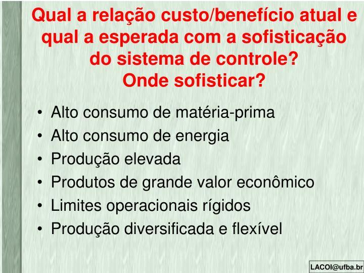 Qual a relação custo/benefício atual e qual a esperada com a sofisticação do sistema de controle?
