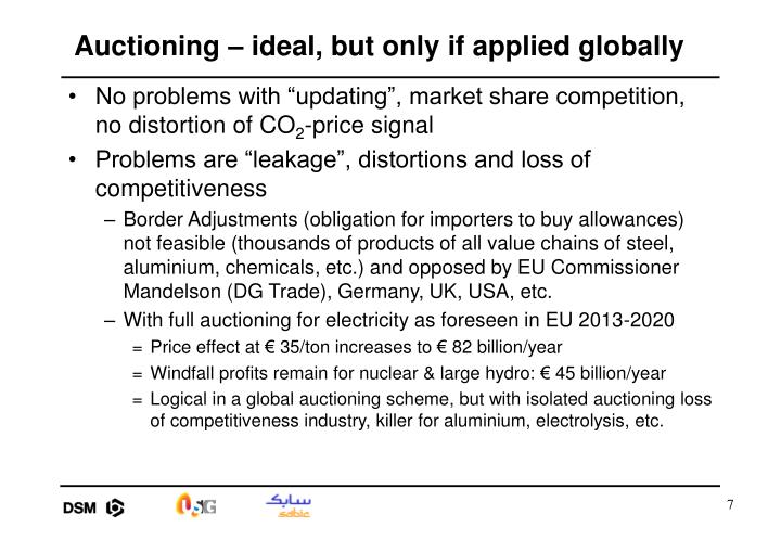 Auctioning – ideal, but only if applied globally