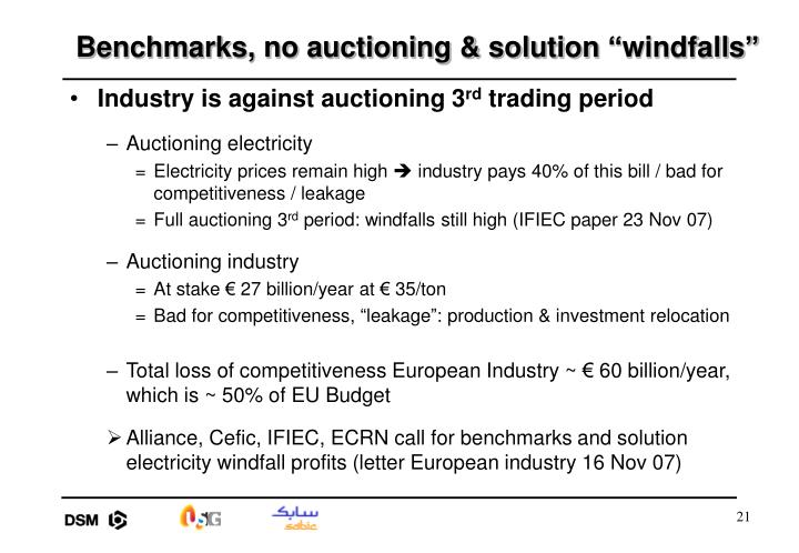 "Benchmarks, no auctioning & solution ""windfalls"""