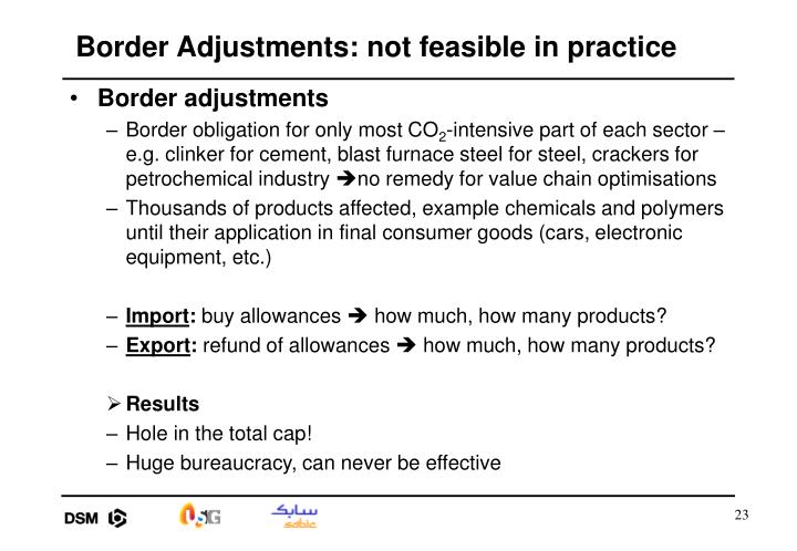 Border Adjustments: not feasible in practice