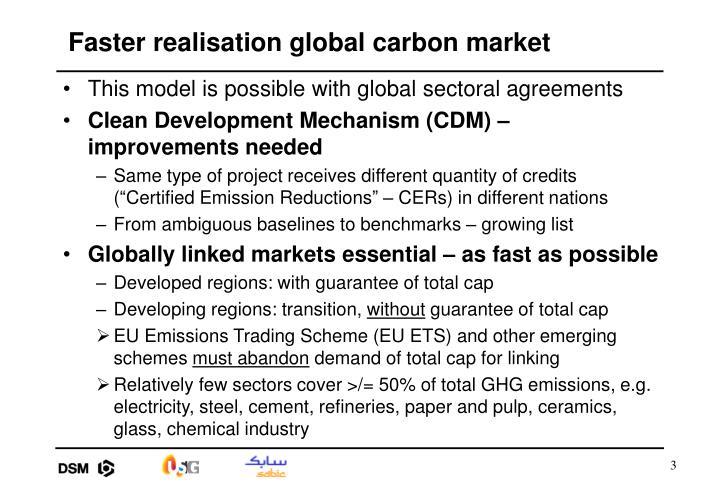 Faster realisation global carbon market