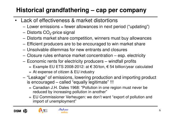 Historical grandfathering – cap per company