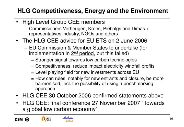 HLG Competitiveness, Energy and the Environment