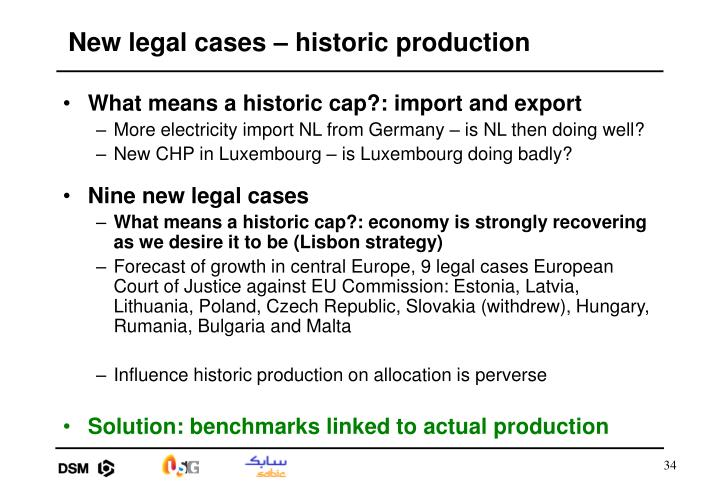 New legal cases – historic production
