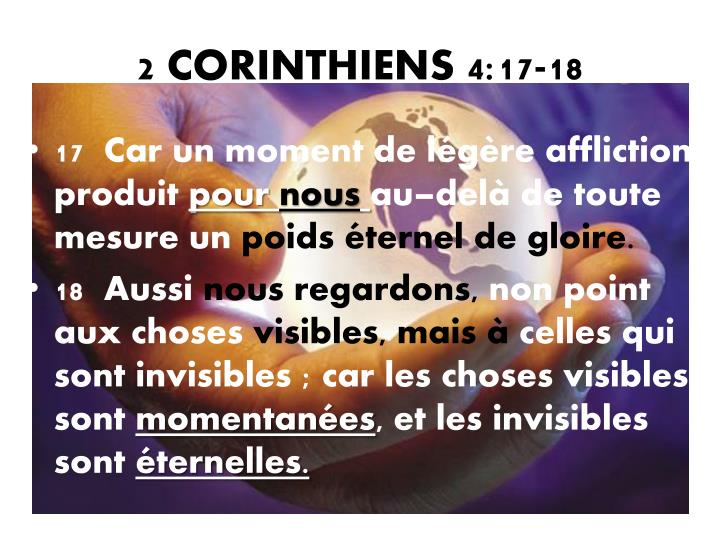 2 CORINTHIENS 4:17-18