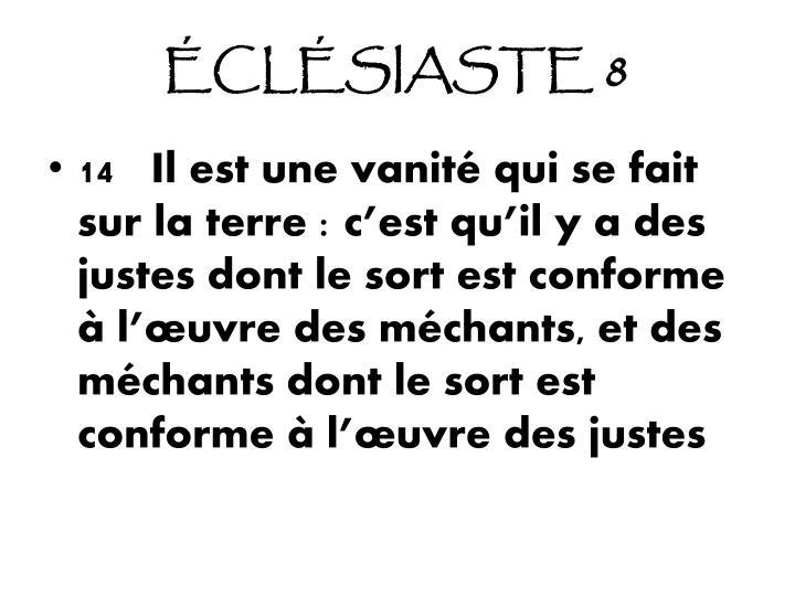 ÉCLÉSIASTE 8