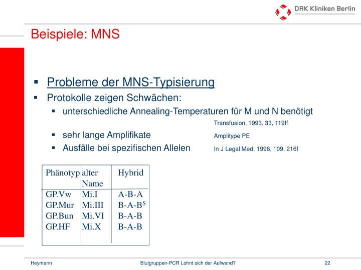 Beispiele: MNS