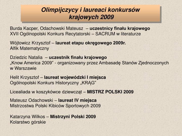 Olimpijczycy i laureaci konkursów