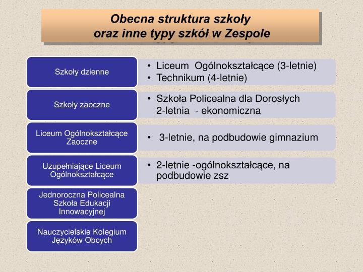 Obecna struktura szkoły