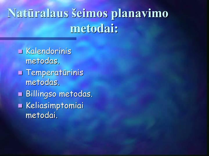 Kalendorinis metodas.