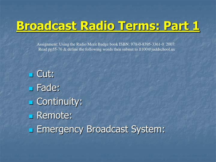 Broadcast Radio Terms: Part 1