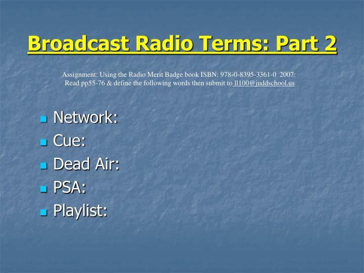 Broadcast Radio Terms: Part 2
