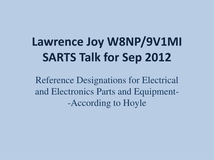 Lawrence joy w8np 9v1mi sarts talk for sep 2012