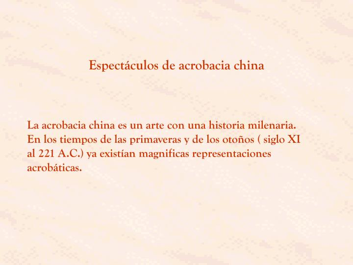 Espectáculos de acrobacia china