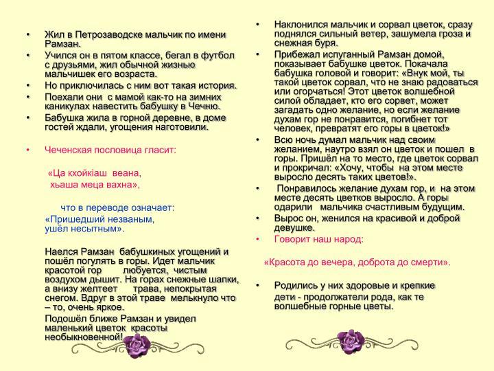 Жил в Петрозаводске мальчик по имени Рамзан.