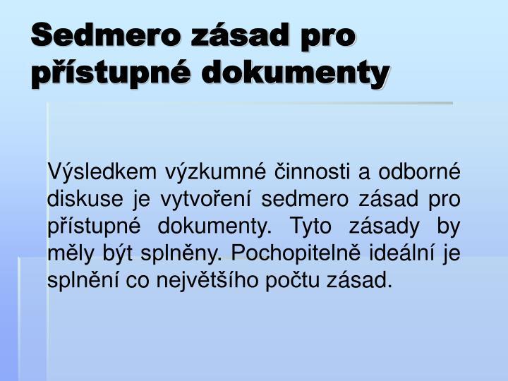Sedmero zásad pro přístupné dokumenty