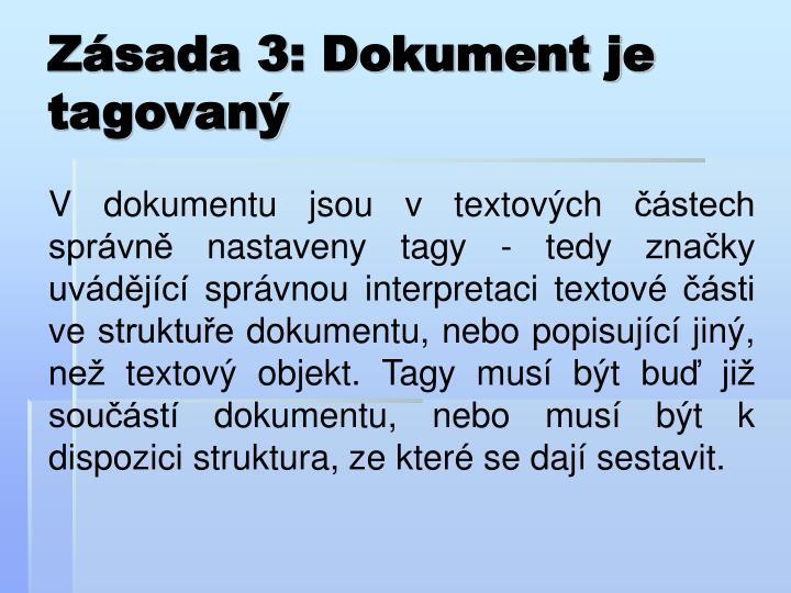 Zásada 3: Dokument je tagovaný