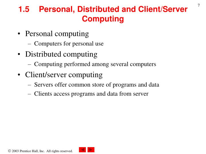 1.5  Personal, Distributed and Client/Server Computing