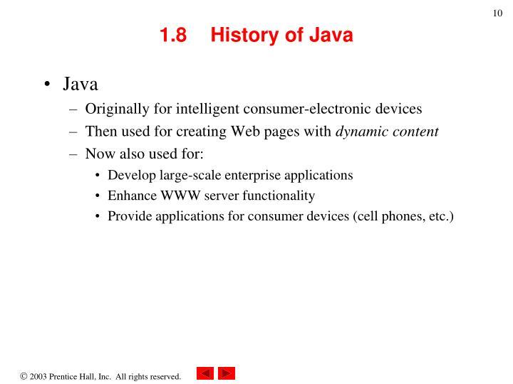 1.8  History of Java