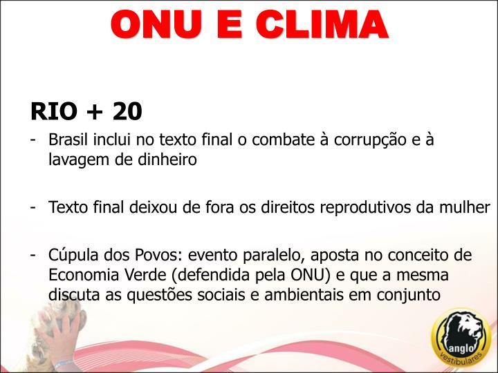 ONU E CLIMA