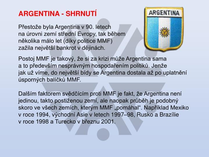 ARGENTINA - SHRNUTÍ