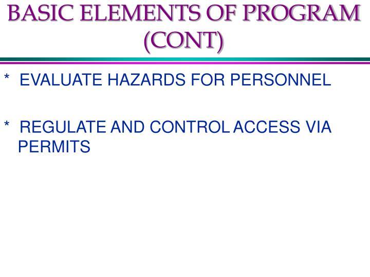 BASIC ELEMENTS OF PROGRAM (CONT)