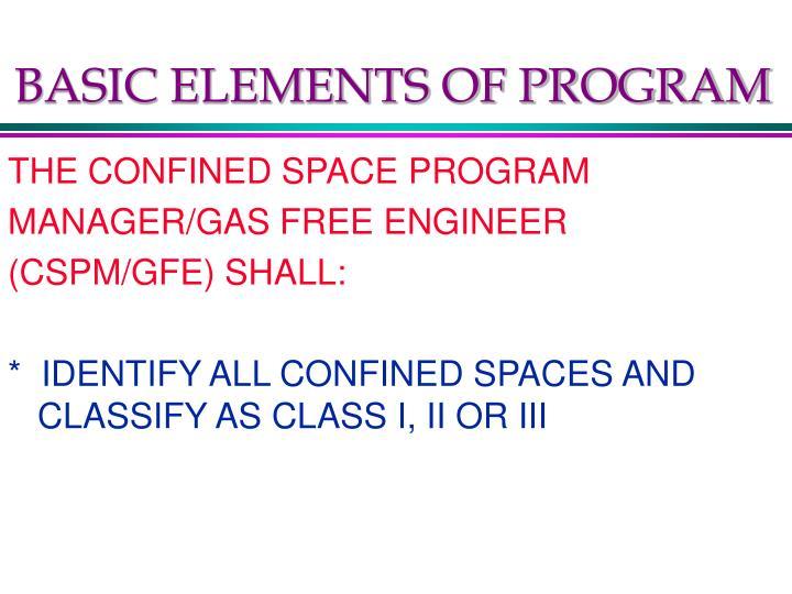 BASIC ELEMENTS OF PROGRAM