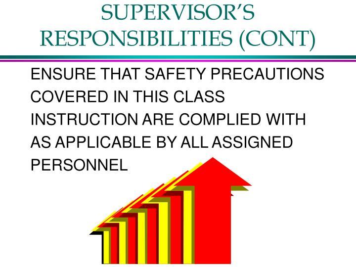 SUPERVISOR'S RESPONSIBILITIES (CONT)