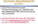 training requirements cont